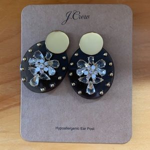 J. Crew brown and gold earrings with gems.